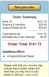 AmazonGlobal super saver shipping