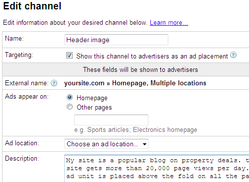 adsense channel targeting