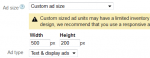 adsense custom sizes