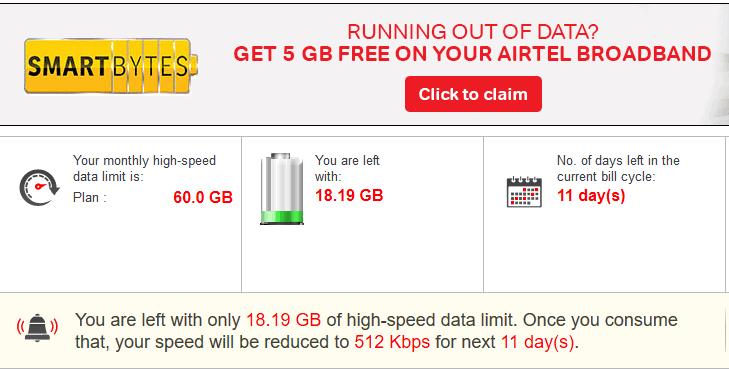 Airtel broadband usage