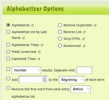 alphabet sort a-z