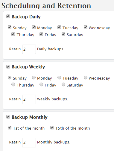 backup schedule