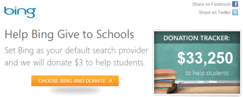 Set Bing Search and get donation