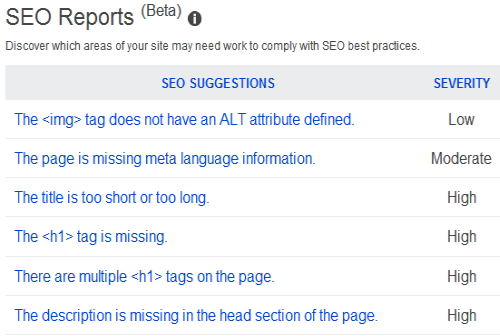 bing seo report
