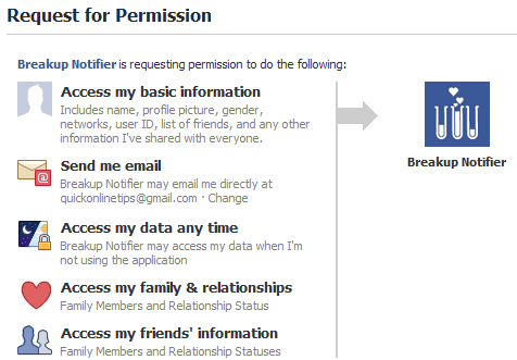 Facebook breakup notifier