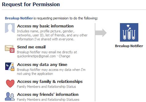 Facebook breakup notifier