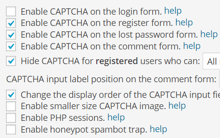 captcha options