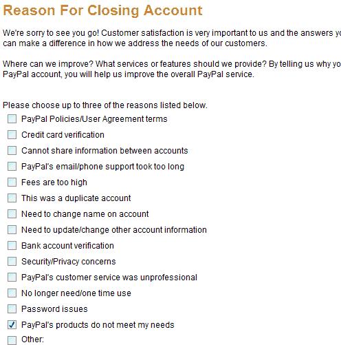 Close paypal reason
