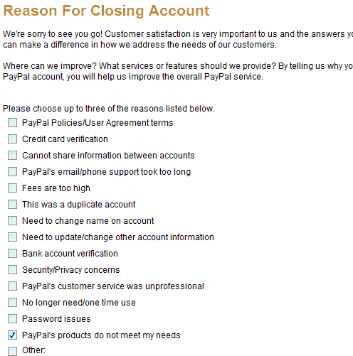 Close paypal reason