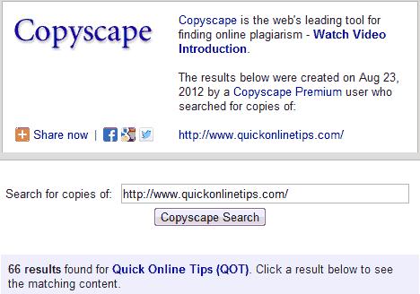 Copyscape premium results