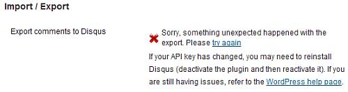 disqus export error