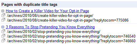 Duplicate page titles