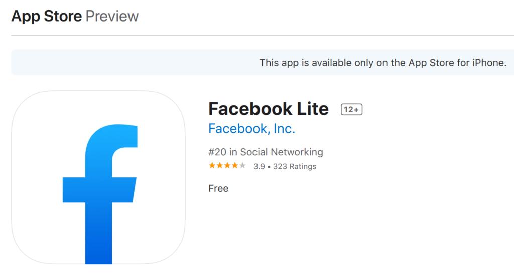 facebook lite app ios