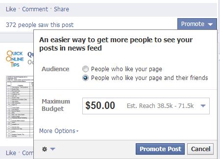 Facebook promote
