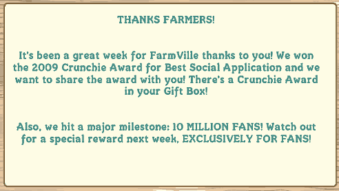 farmville wins crunchie award