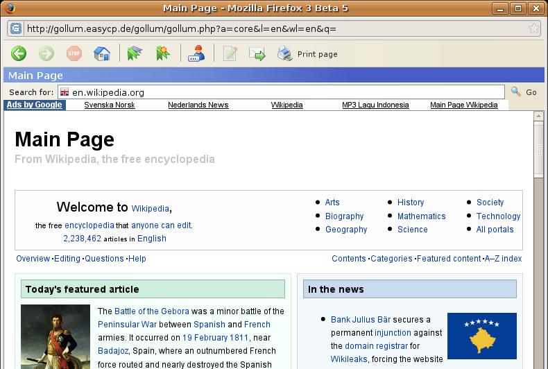 gollum wikipedia browser
