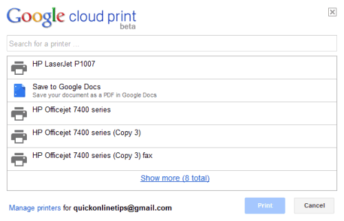 Google Cloud Print printers