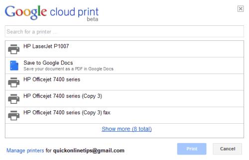 Google Cloud Print printers
