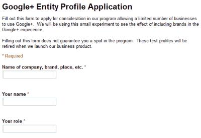 Google+ brand profile application