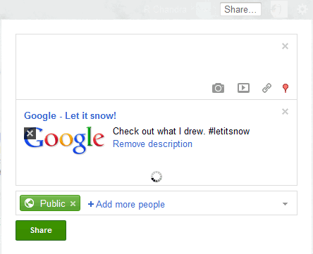 google snow share on Google+