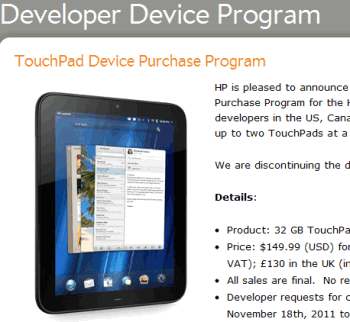 hp touchpad developers
