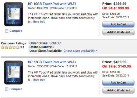 hp touchpad sale