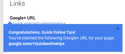New Custom Google+ url