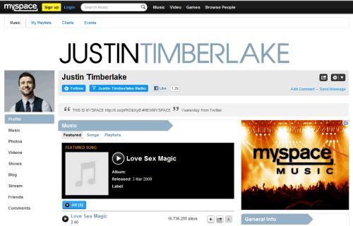old MySpace profile