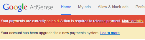 hold adsense payment