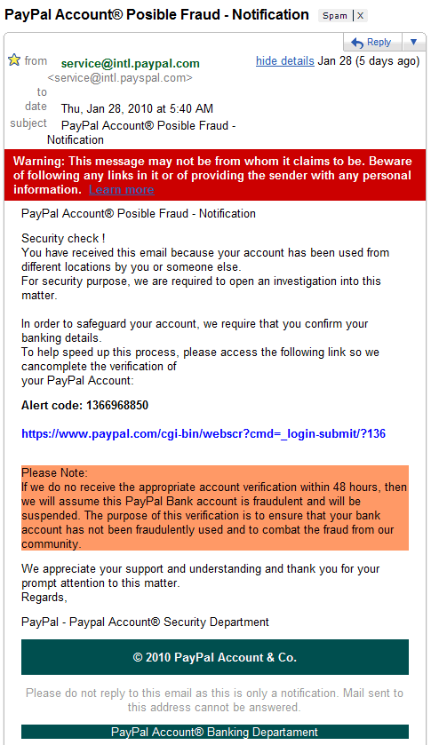 How to Detect Fake Paypal Phishing Email