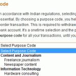 paypal india purpose code