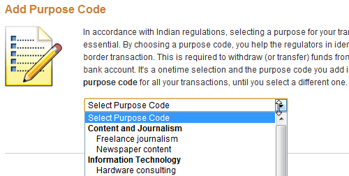 paypal india purpose code