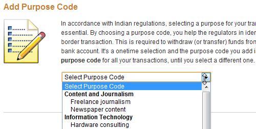 Purpose code