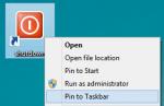 pin to taskbar and start menu