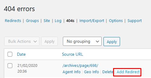 redirect 404 errors