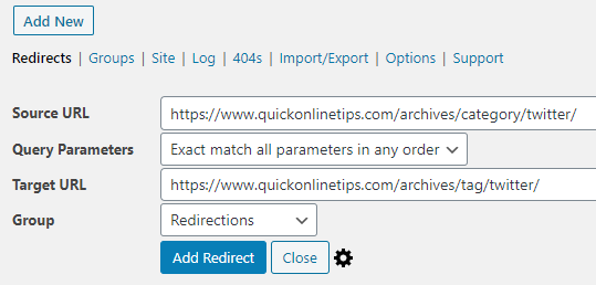 redirect category to tags