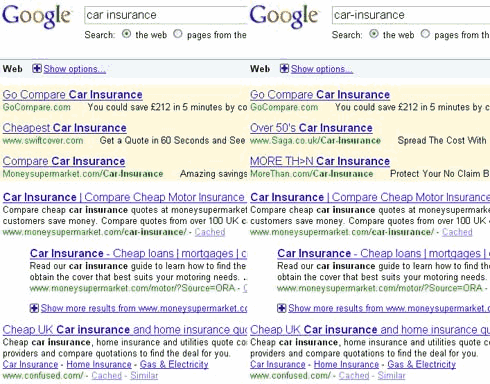 car insurance search results