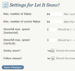 blog snow fall settings