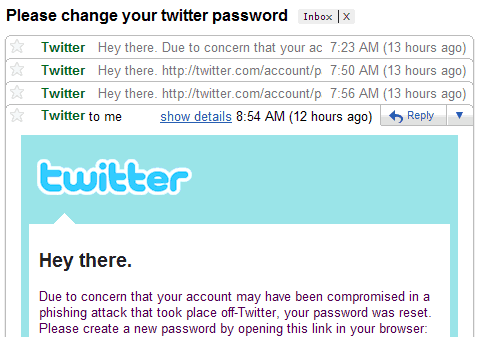 Twitter password reset