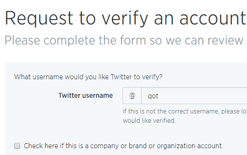 twitter verified form