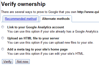verify site ownership