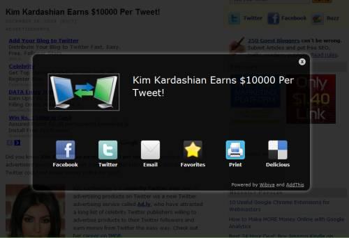 wibiya pop up share screen