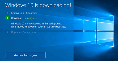 windows 10 progress