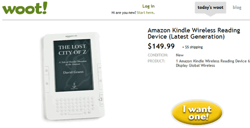 amazon kindle on woot