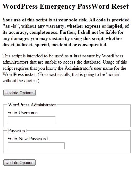 wordpress emergency script